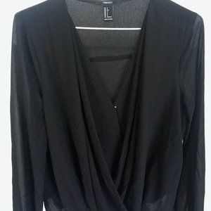 Forever 21 Black V Neck Surplice Blouse
